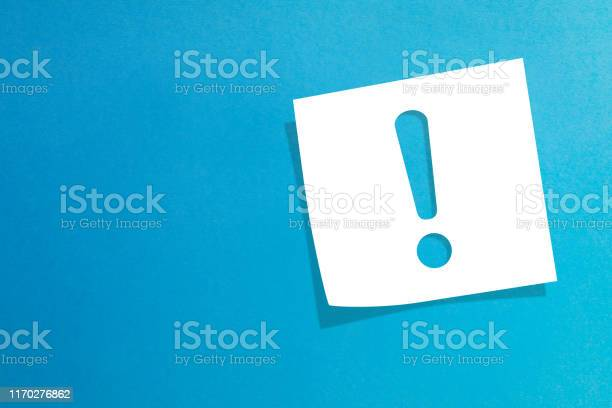 Note paper with exclamation mark on blue background picture id1170276862?b=1&k=6&m=1170276862&s=612x612&h=0r 12tcxbjoi h1ywndn1hu4tmf39ex2sprsbmuueee=