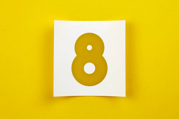 note paper with number eight on it - 8 infographic stock photos and pictures