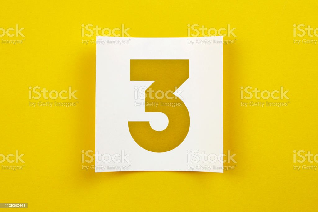 Note Paper With Number Three On It Stock Photo