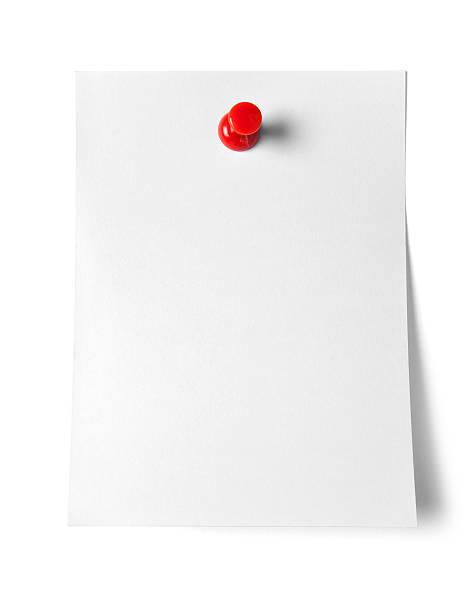 nota papéis com pino de pressão - folha de caderno imagens e fotografias de stock