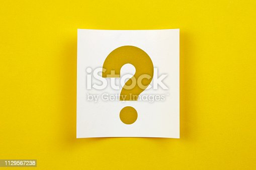 White note paper on yellow background