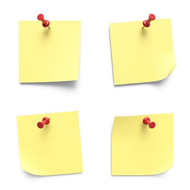 hinweis papiere - klebezettel stock-fotos und bilder