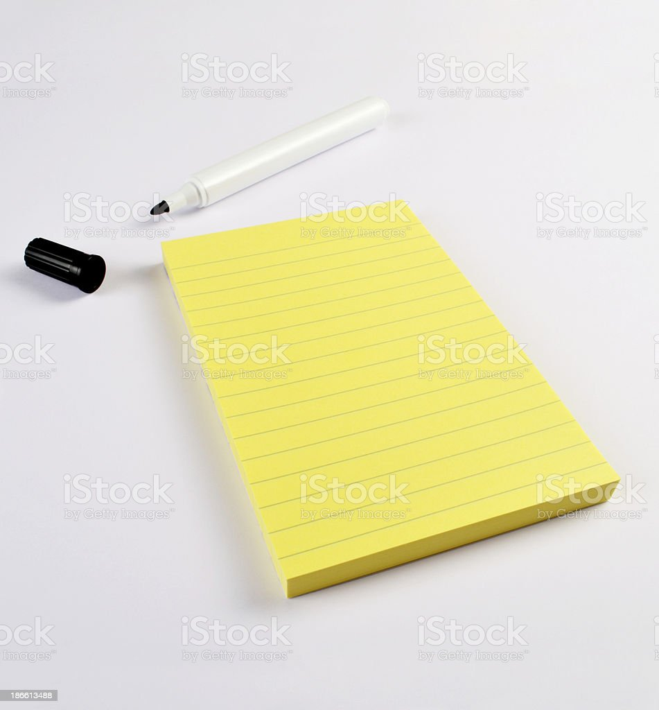 Note Papers with Felt-tip Pen stock photo