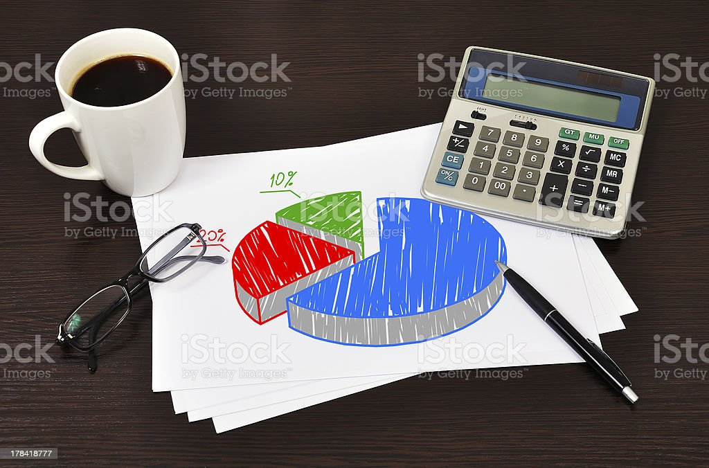 Note pie chart royalty-free stock photo