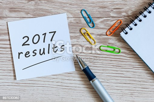 istock Note with 2017 Results text on desk table office Top view, flat lay 897030062