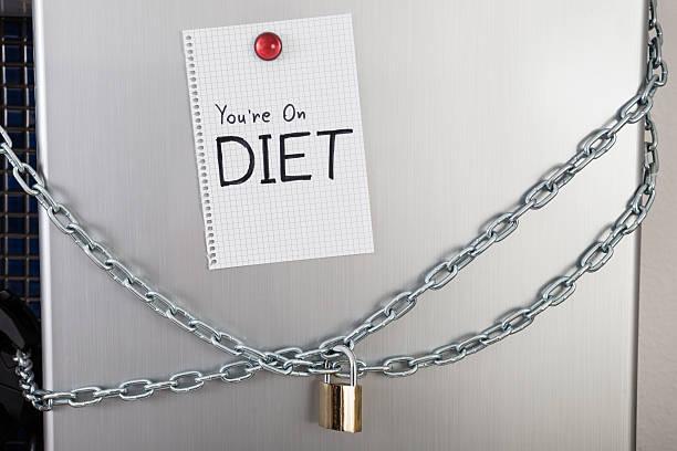 hinweis mit text auf ernährung gesperrt kühlschrank - geschlossene küchen stock-fotos und bilder