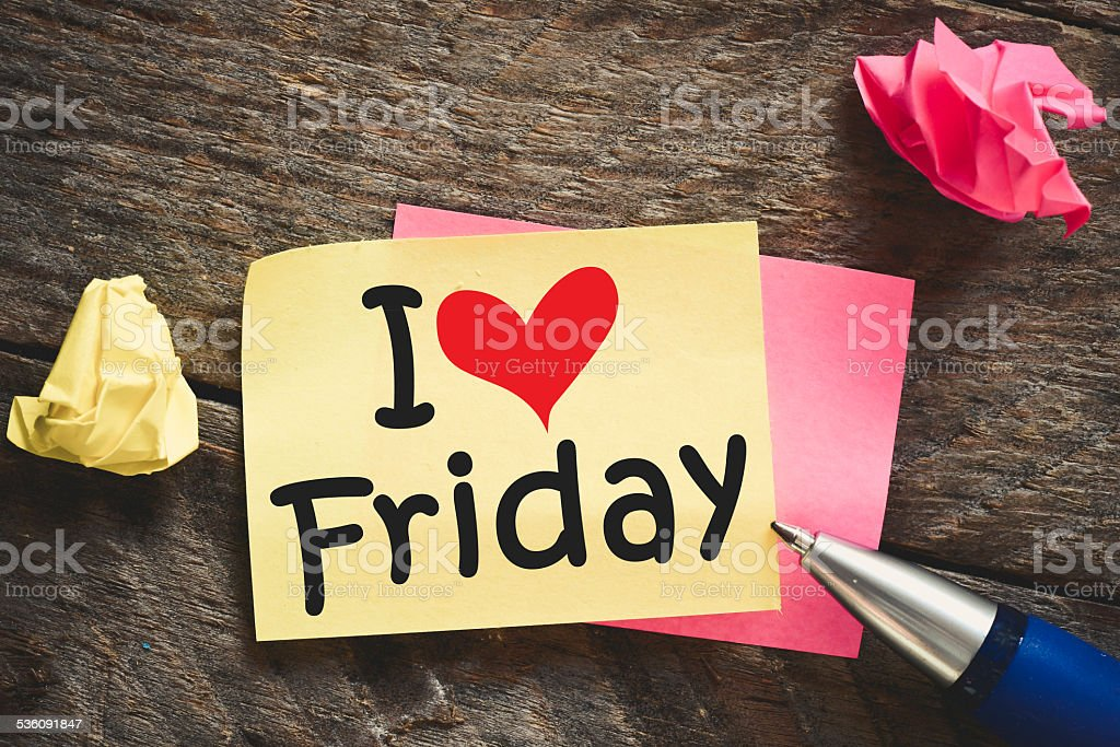 Note with I love friday stock photo
