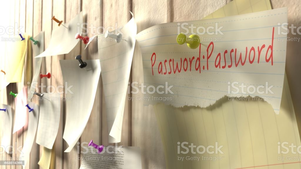Note with password on a wooden kitchen wall - Foto stock royalty-free di Affari