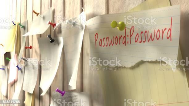 Note With Password On A Wooden Kitchen Wall - Fotografie stock e altre immagini di Affari