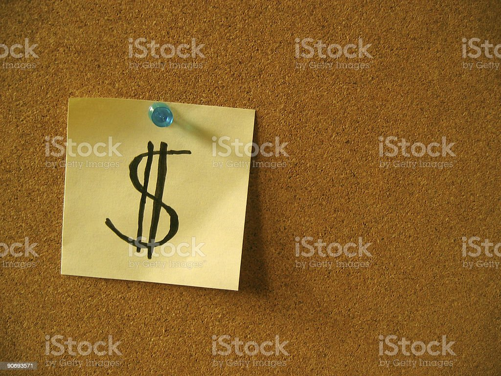 Note with $ royalty-free stock photo
