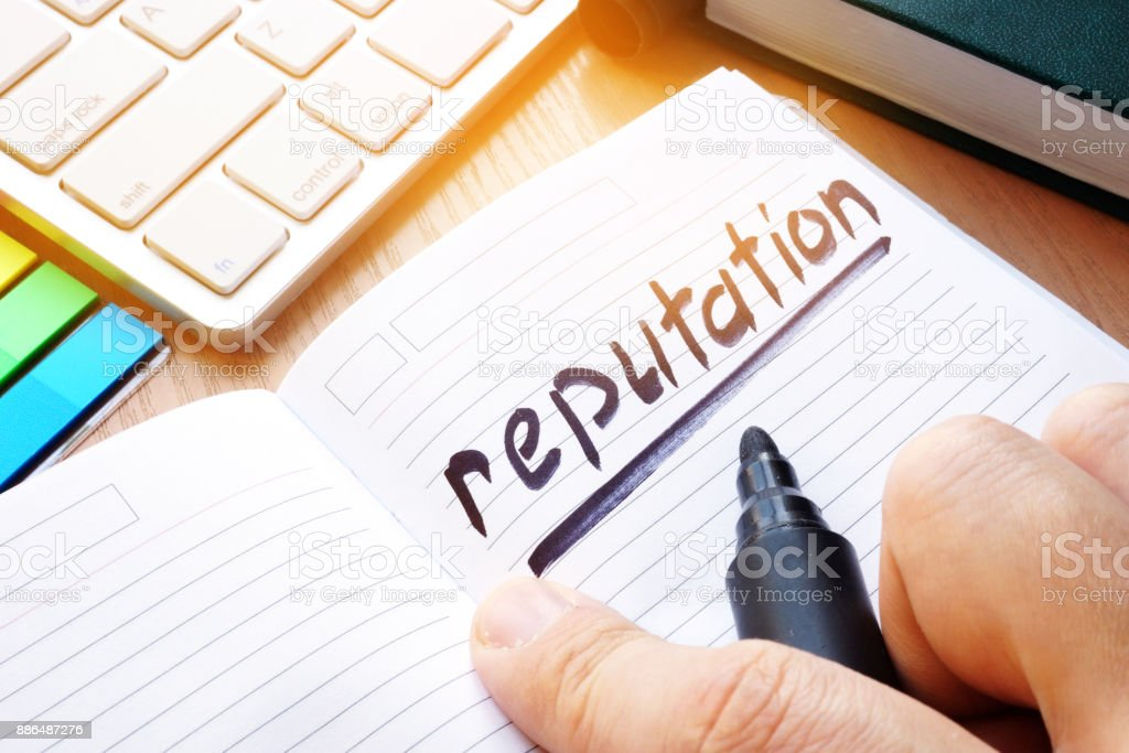 Note with written word reputation. stock photo
