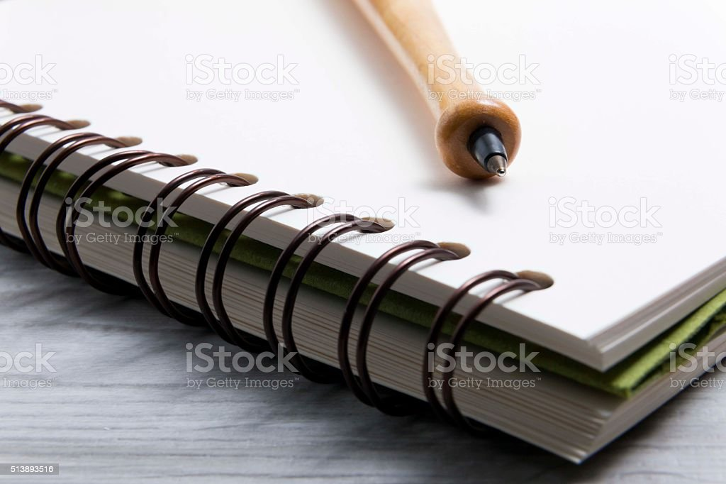 notebook and ballpen2 stock photo