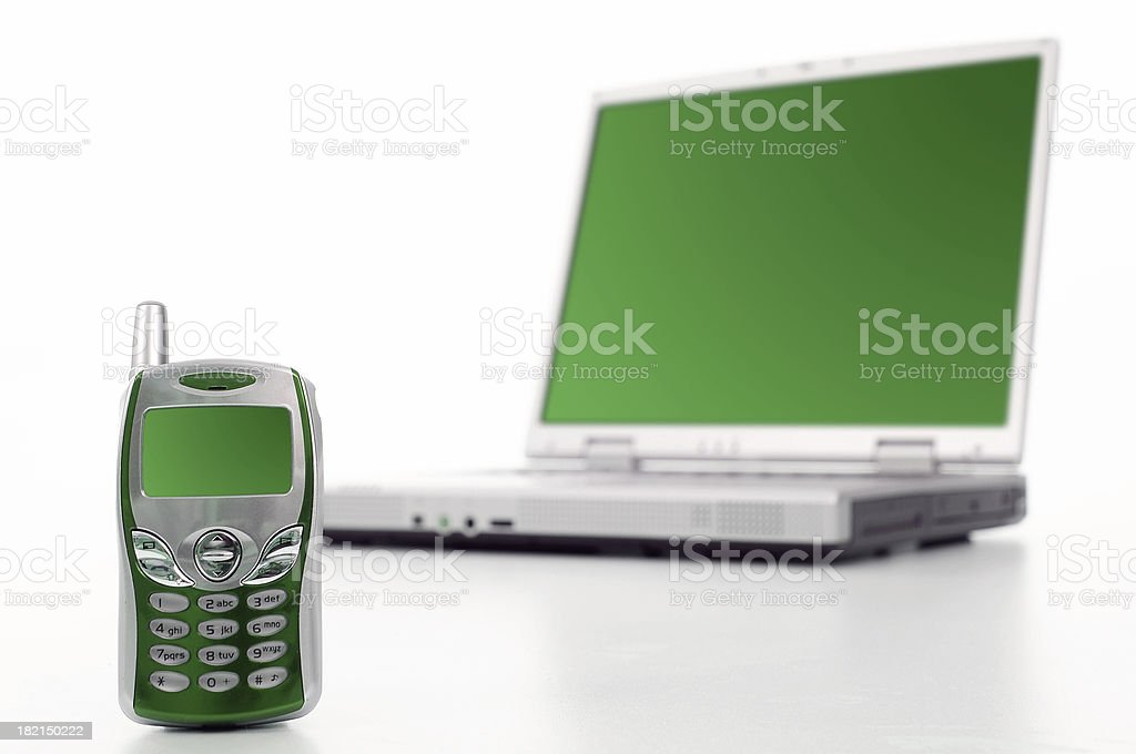 Notebook and cellphone stock photo