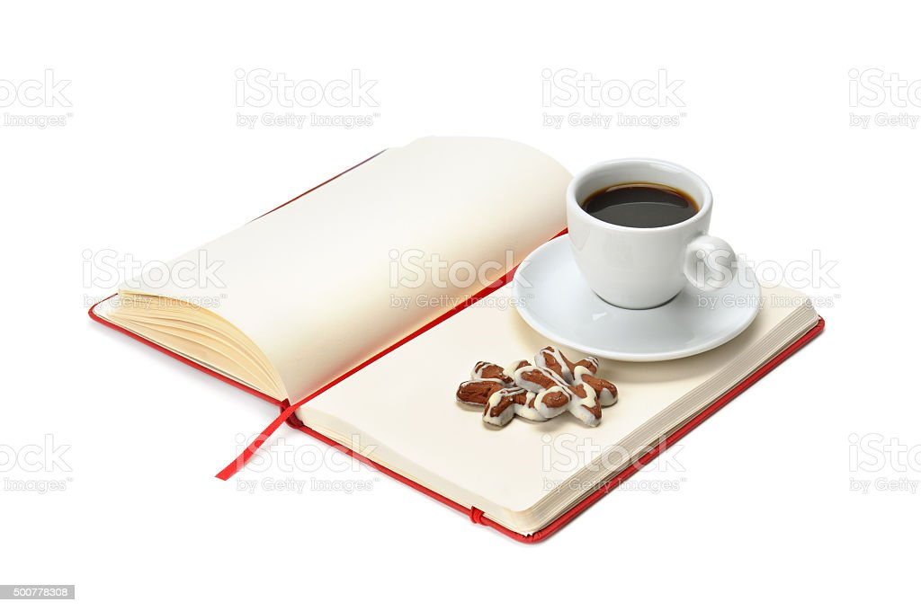 notebook and cup of coffee stock photo