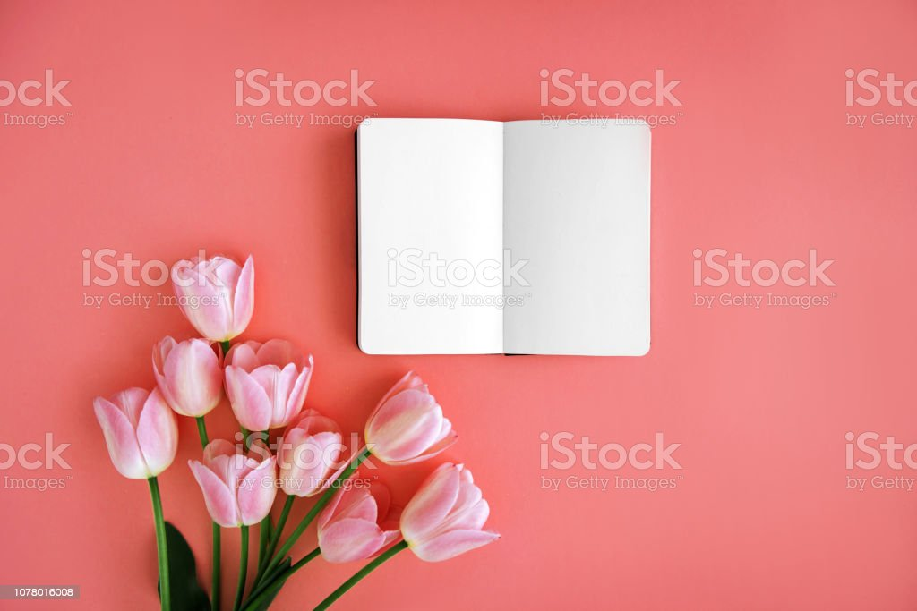 Notebook and flowers stock photo
