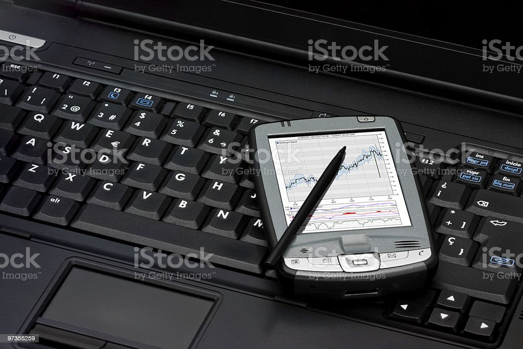 Notebook and PDA royalty-free stock photo
