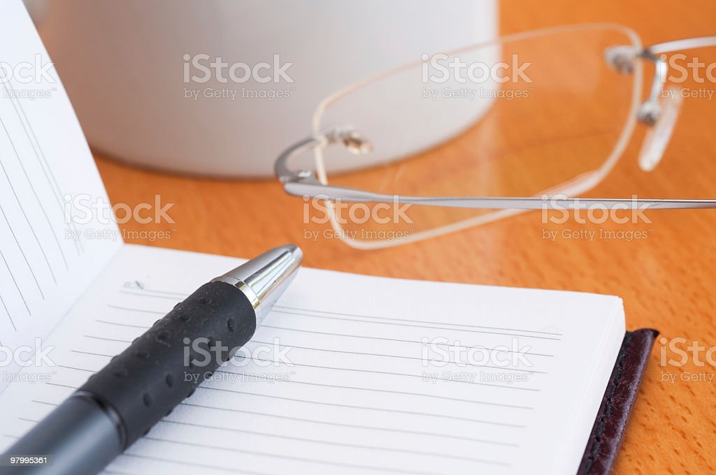 Notebook and pen close-up royalty-free stock photo
