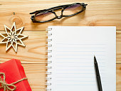 Notebook and pen for writing New Year's Resolutions