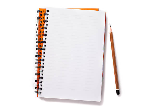 Notebook and pencil Notebook and pencil isolated on a white background. workbook stock pictures, royalty-free photos & images