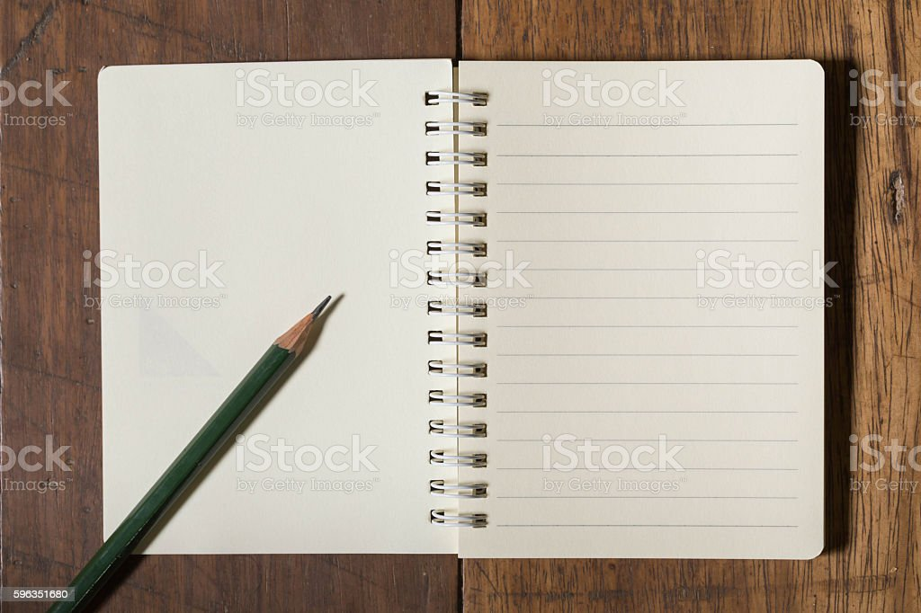 notebook and pencil royalty-free stock photo