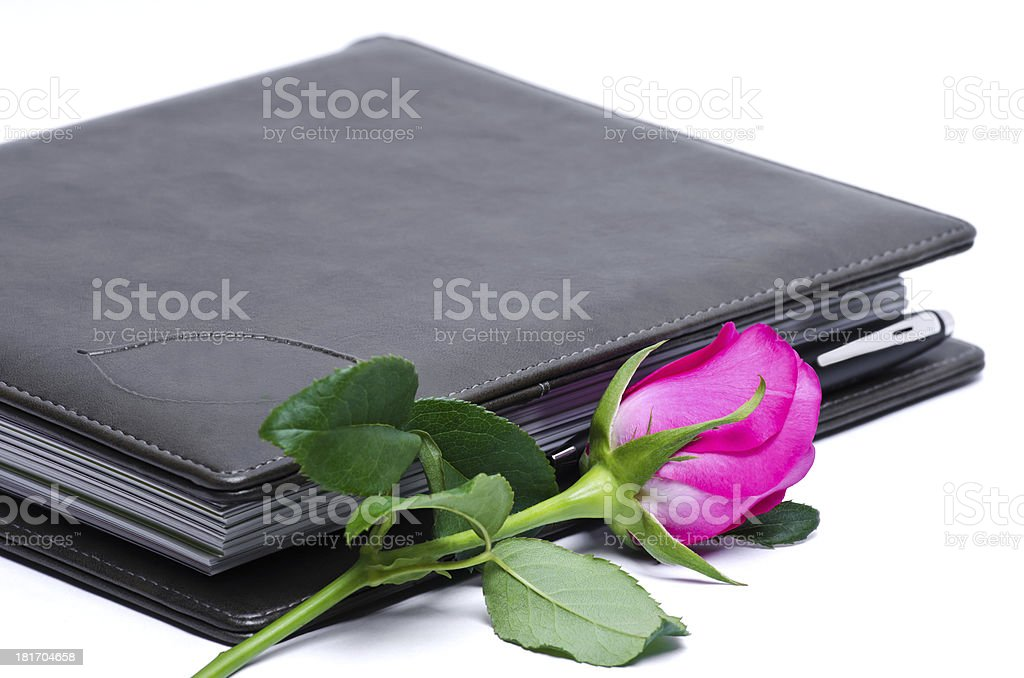 notebook and rose royalty-free stock photo