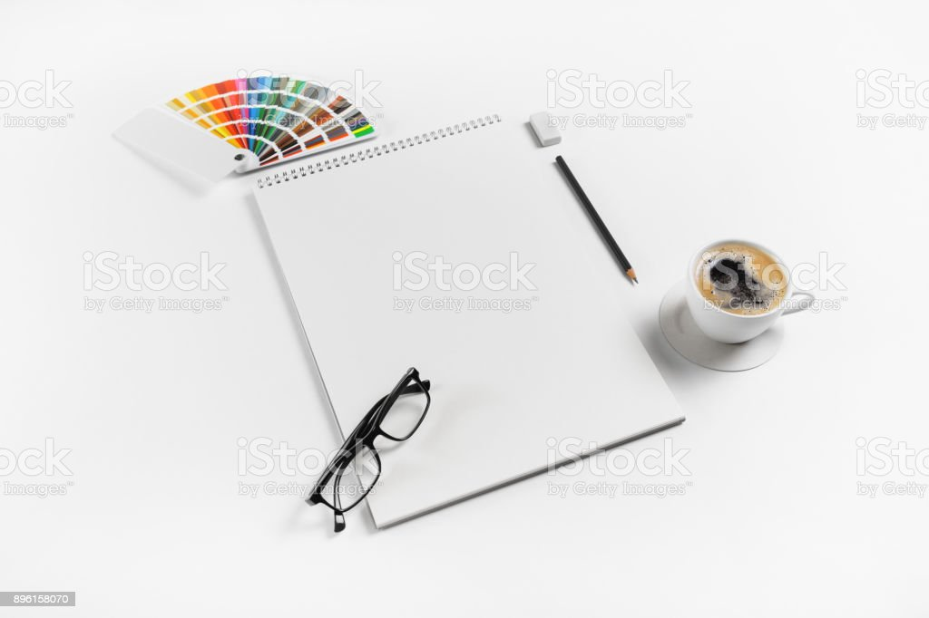 Notebook and stationery stock photo