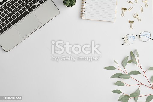 862672018 istock photo Notebook, clips, plant in flowerpot, branch with green leaves and laptop keypad 1195251638