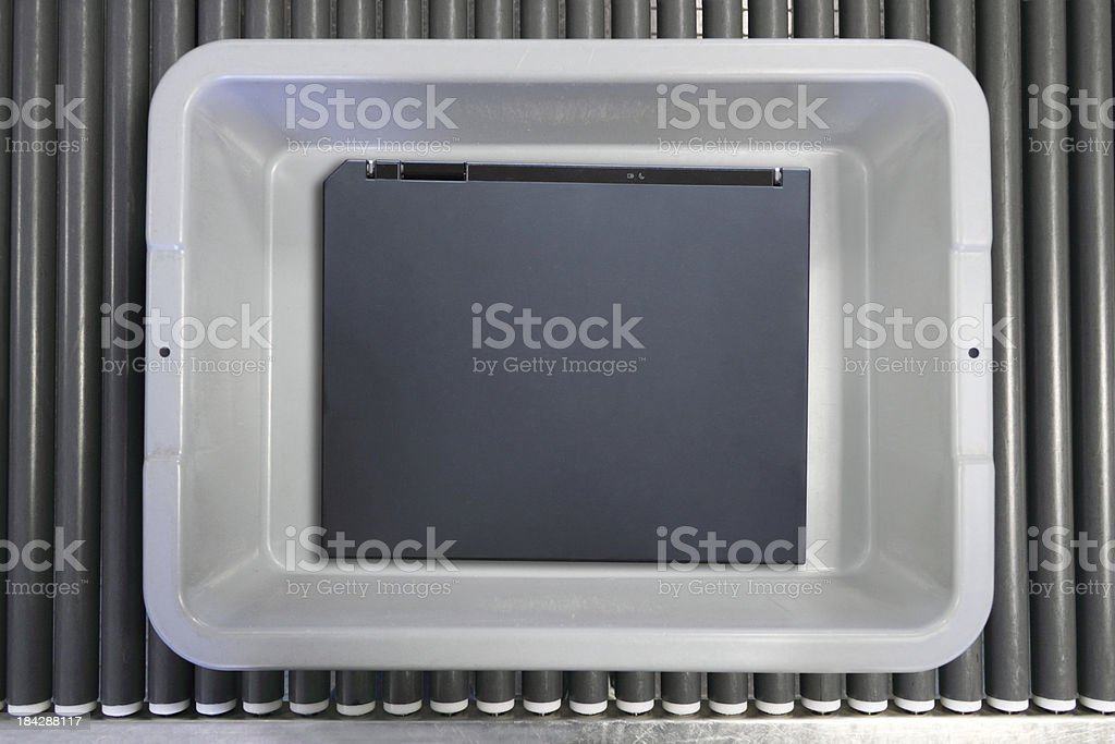 Notebook Computer At Airport stock photo