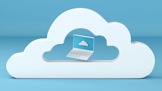 istock Notebook computer inside cloud computing concept 3d illustration 1146501895