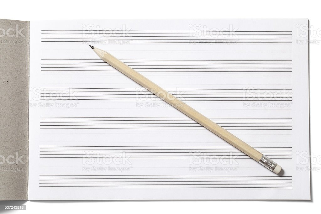 Notebook for Musical Notes and Pencil stock photo