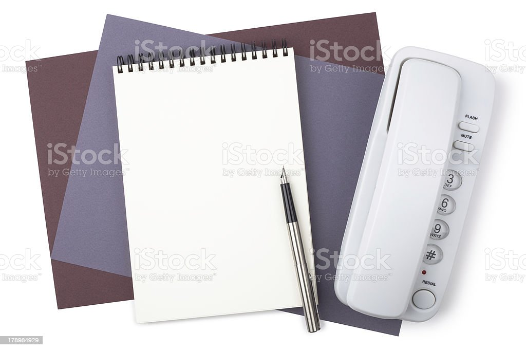 Notebook, fountain pen and phone on textured  paper royalty-free stock photo