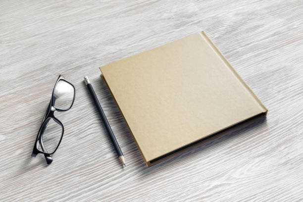 Notebook, glasses, pencil stock photo