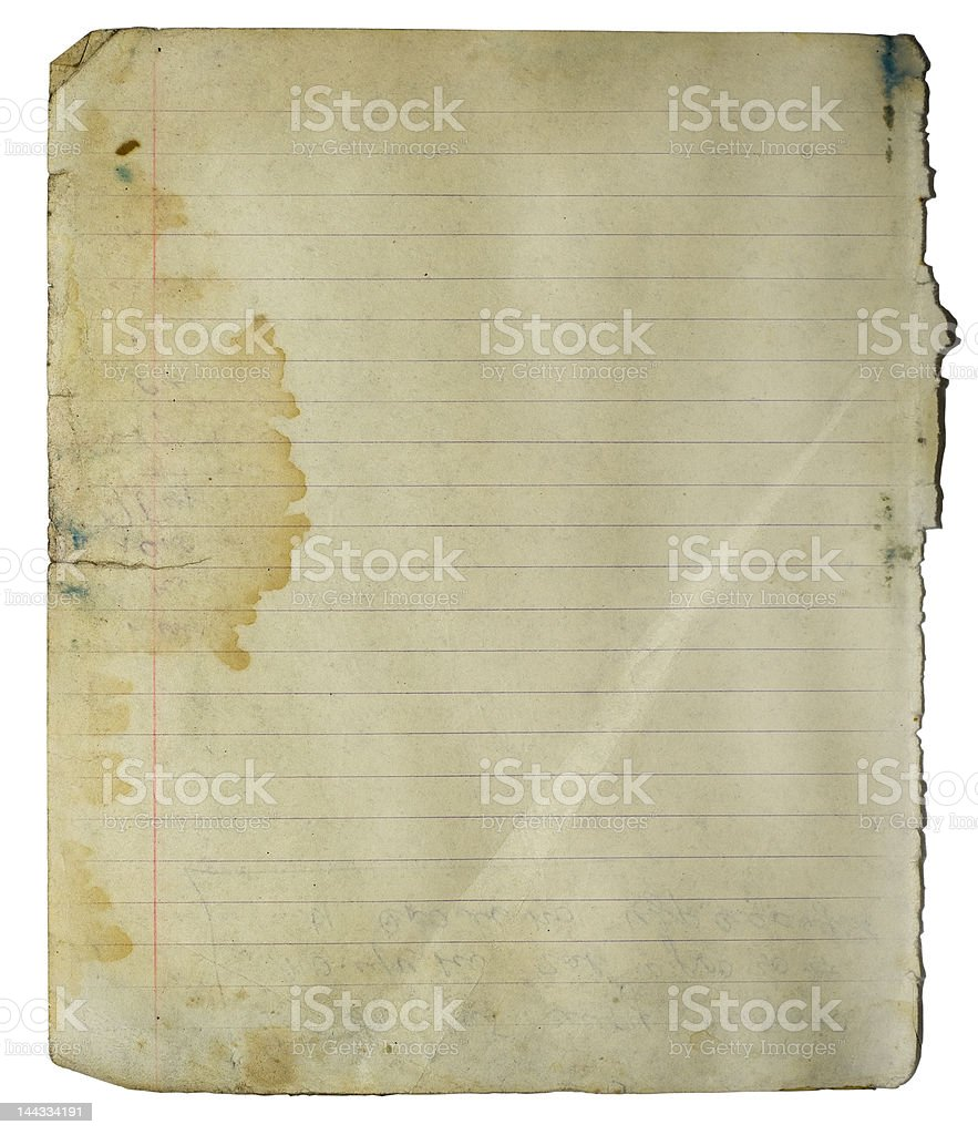Notebook grungy page royalty-free stock photo