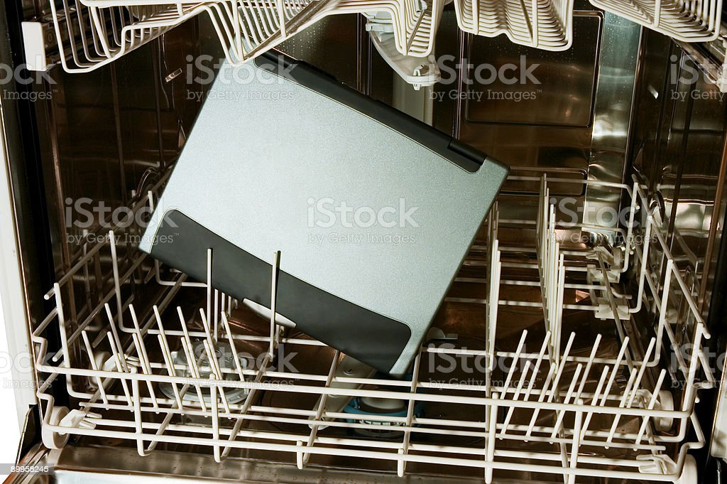 Notebook in dishwasher - ready to clean royalty-free stock photo