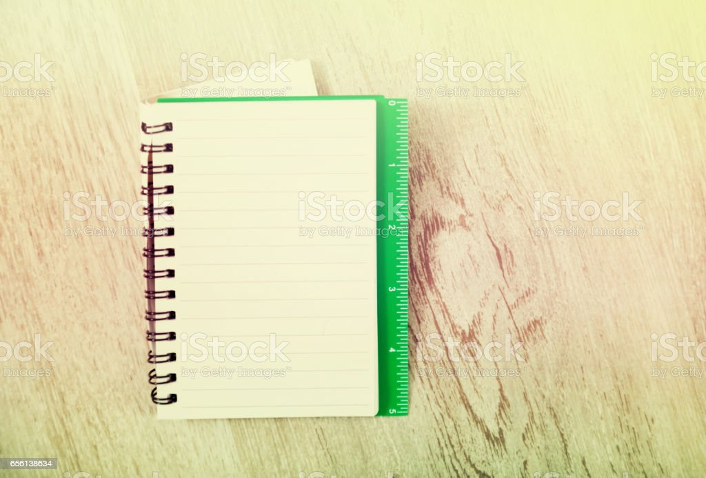 Notebook in line on table stock photo