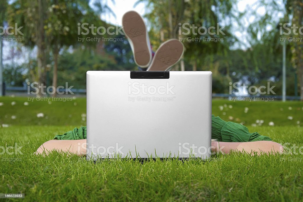 notebook in the park royalty-free stock photo