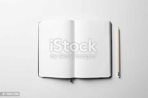 istock Notebook Mock-up with elastic band closure 614962296