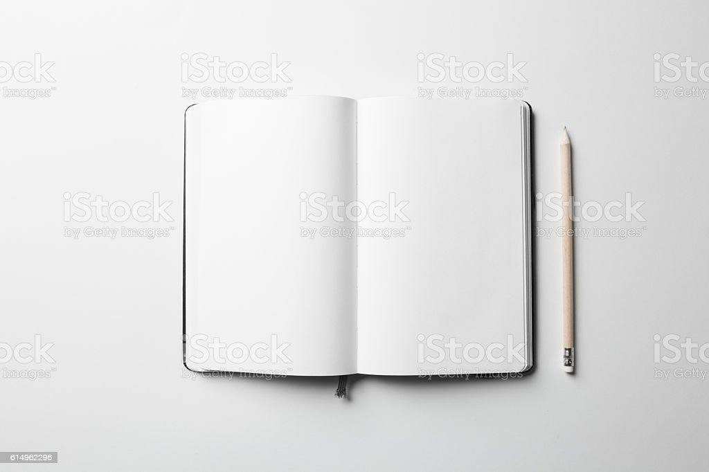 Notebook Mock-up with elastic band closure stock photo