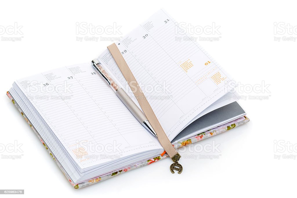 Notebook opened on new year stock photo