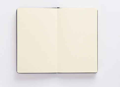 notebook or book with empty pages on white background, top view