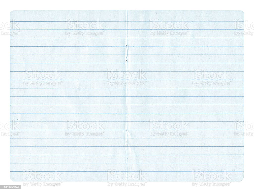 Notebook Page paper background textured isolated stock photo