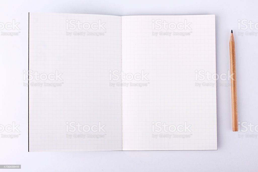 notebook paper background with pencil stock photo
