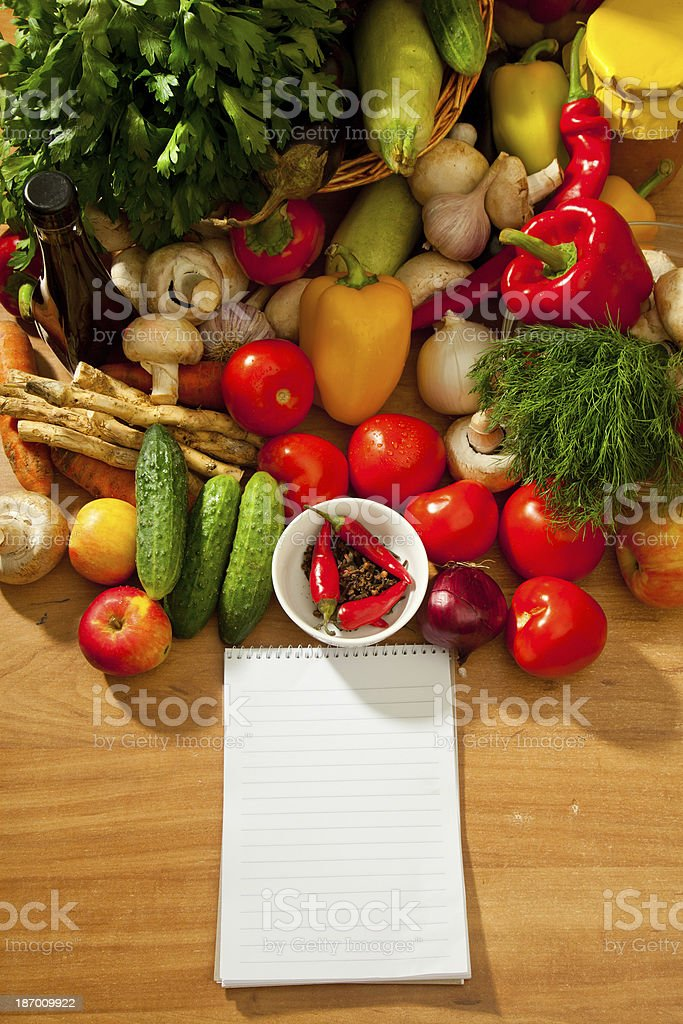 Notebook Paper To Write Recipes And Vegetables Stock Photo