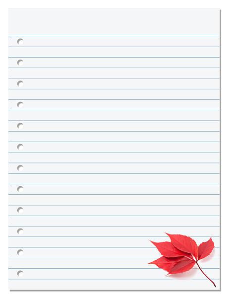 papel de caderno com hera americana folha de outono vermelha no canto - folha de caderno imagens e fotografias de stock