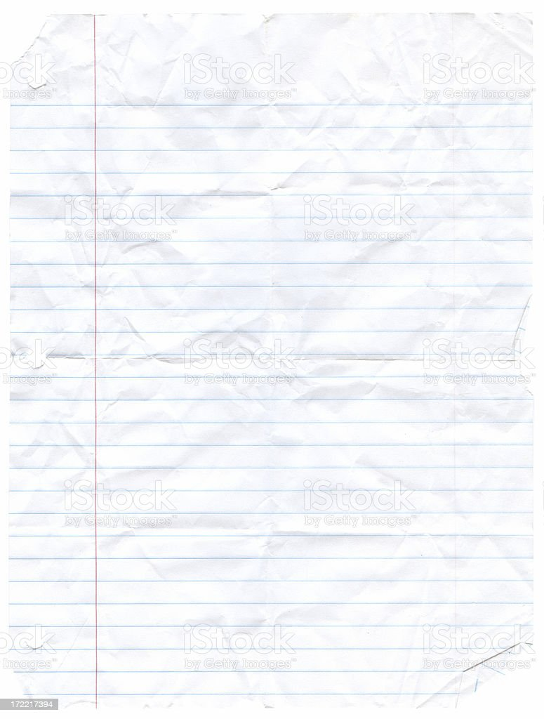 Notebook Paper Wrinkled - Wide Rule stock photo