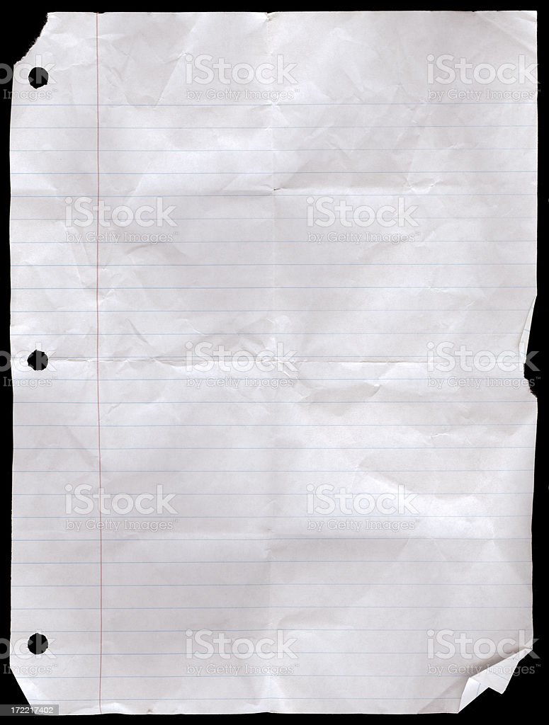 Notebook Paper Wrinkled - Wide Rule (100% View) stock photo