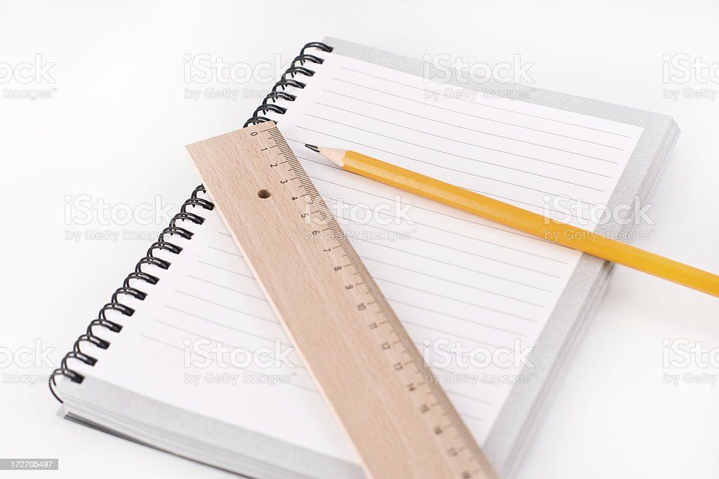 Notebook, pencil and a ruler royalty-free stock photo