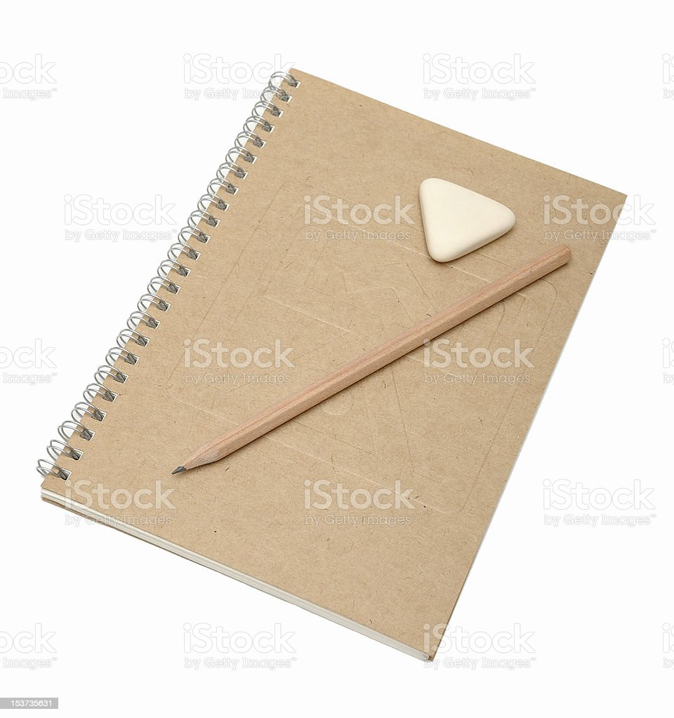 Notebook, natural, paper, pencil, eraser, rubber, school, business,...