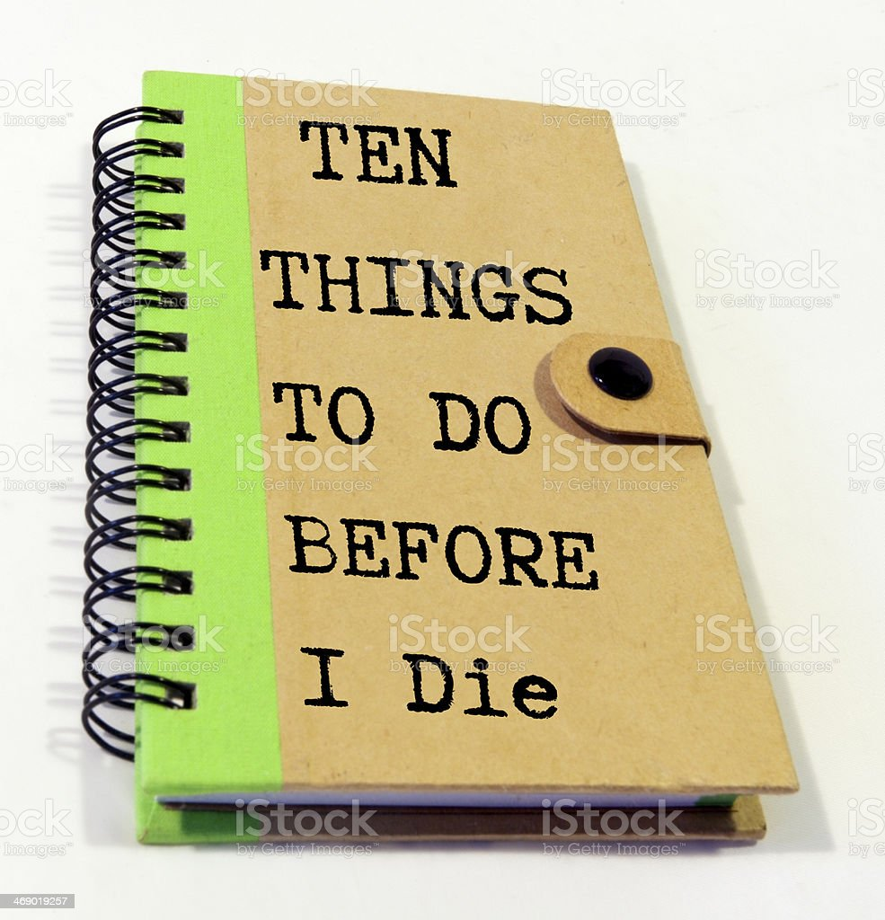 THINGS TO DO Notebook stock photo
