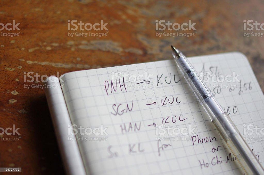 Notebook planning flights royalty-free stock photo